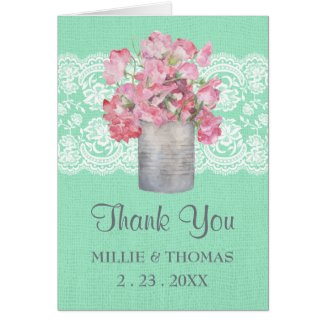 Rustic Tin Can Floral on Mint Green Burlap Wedding