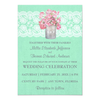 Rustic Tin Can Floral on Mint Green Burlap Wedding Card