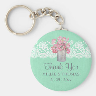 Rustic Tin Can Floral on Mint Green Burlap Wedding Basic Round Button Keychain