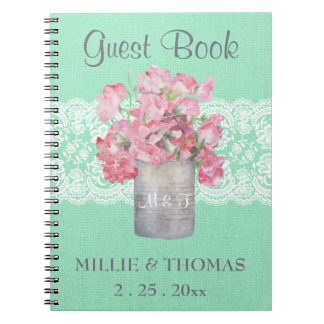 Rustic Tin Can Floral on Mint Green Burlap Wedding Spiral Notebook