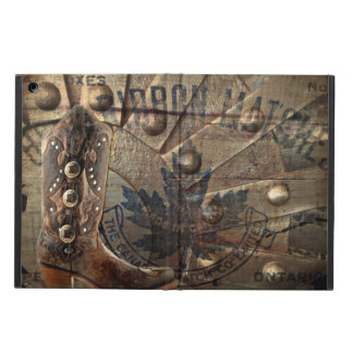 rustic tooled leather cowboy boots western case for iPad air