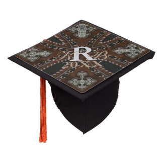 rustic tooled leather pattern western country graduation cap topper