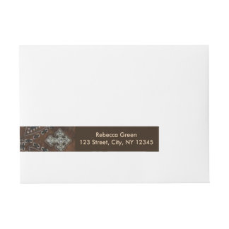 rustic tooled leather pattern western country wrap around address label