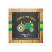 Rustic Tractor Baby Shower Green and Yellow Napkins