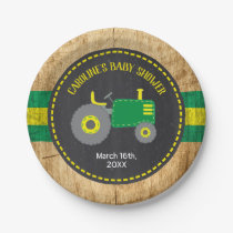 Rustic Tractor Baby Shower Green and Yellow Paper Plate