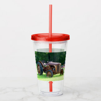 Rustic Tractor Cup With Lid and Straw