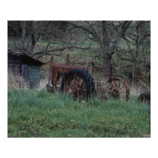 Rustic Tractor Poster