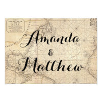 Rustic Travel Inspired Map Wedding Invitation