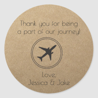 Rustic, Travel Themed Thank You Stickers- Favors Classic Round Sticker