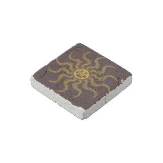 Rustic Travertine Tile Sun Face Magnet Stone Magnet