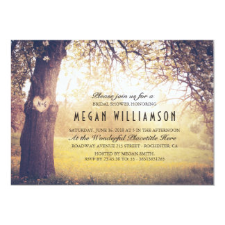 Rustic Tree and Carved Heart Bridal Shower Card