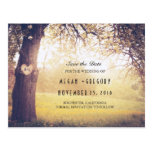 Rustic Tree and Carved Heart Save the Date Postcard