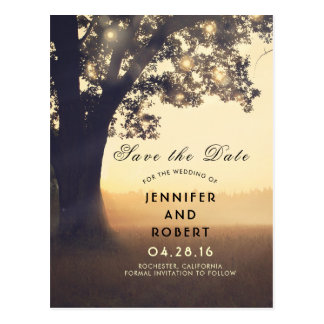 Rustic Tree and Lights Summer Fields Save the Date Postcard