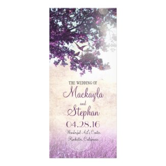 Rustic tree and love birds purple wedding programs rack card template
