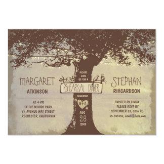 rustic tree and string lights rehearsal dinner custom invites