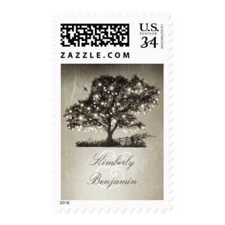Rustic Tree and String Lights Rural Wedding Postage Stamps