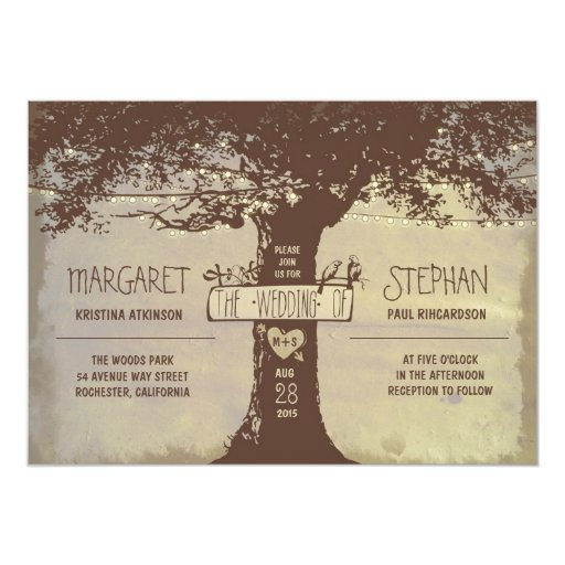 rustic tree and string lights wedding invitation Zazzle