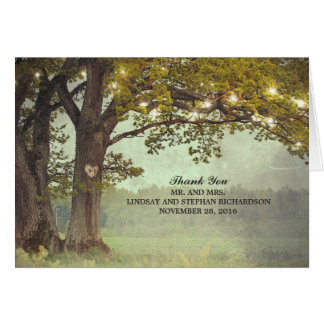 Rustic Tree and String Lights Wedding Thank You Card