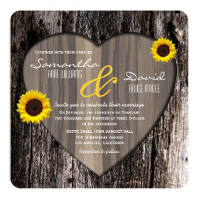Rustic Tree Bark Heart and Sunflower Wedding Invitation