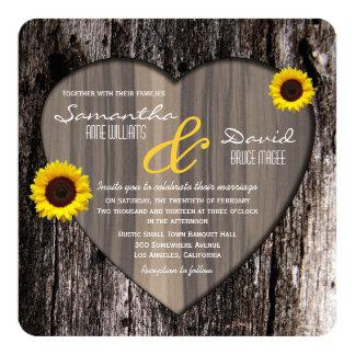 Rustic Tree Bark Heart and Sunflower Wedding Invitation