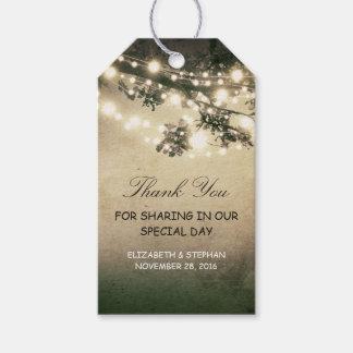 Rustic Tree Brances Lights Wedding Thank You Gift Tags
