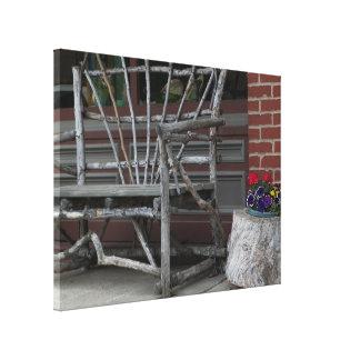 Rustic Tree Branch Limb Bench & Flowers Canvas Print