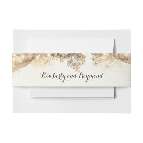 Rustic Tree Branches and Lights Invitation Belly Band