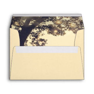 Rustic Tree Branches and String Lights Envelope