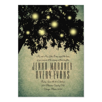 Rustic Tree Branches Glowing Lights Wedding Card