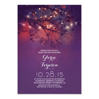 Rustic tree branches & lights bridal shower card