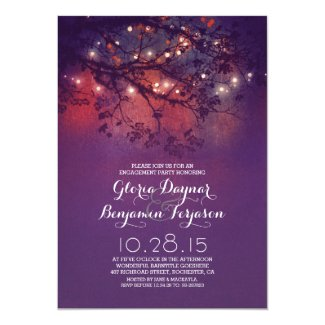 Rustic tree branches & lights engagement party card