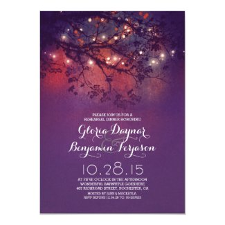 Rustic tree branches & lights rehearsal dinner card