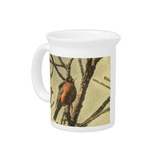 Rustic Tree branches  Michigan State Bird Robin Drink Pitcher