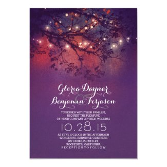 Rustic tree branches purple string lights wedding 5x7 paper invitation card