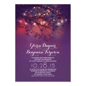 Rustic tree branches purple string lights wedding 5x7 paper invitation card