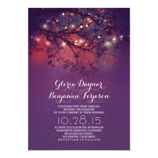 Purple Rustic Wedding Invitations: Rustic Tree Branches Purple String Lights Wedding