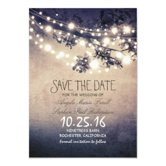 Rustic tree branches & string lights save the date 4.5x6.25 paper invitation card