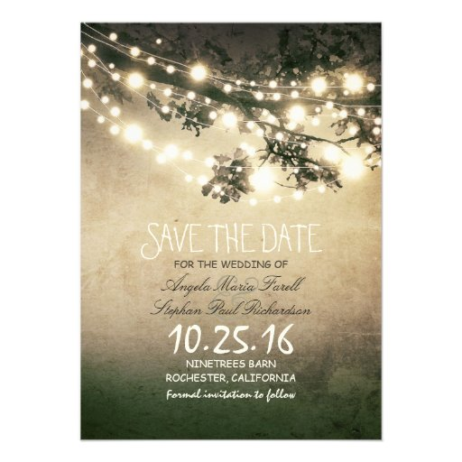 Rustic tree branches & string lights save the date custom invites
