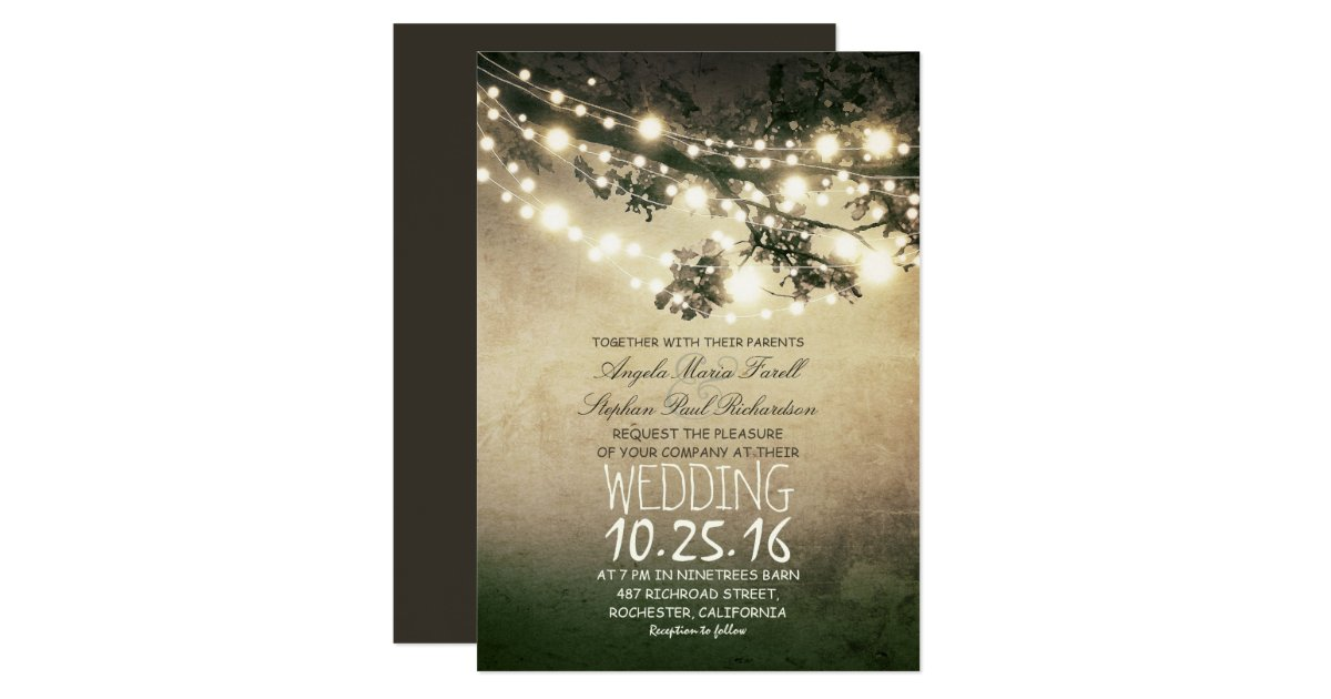 String Lights Rustic Tree : Rustic tree branches & string lights wedding card Zazzle