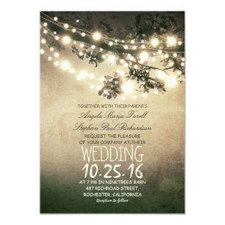 Rustic tree branches & string lights wedding card at Zazzle