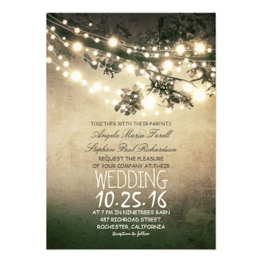 Rustic Tree Branches String Lights Wedding Personalized Invites