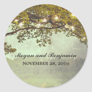 Rustic Tree Branches Wedding Classic Round Sticker