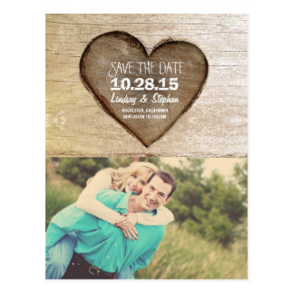 Rustic tree carved wood heart photo save the date postcard