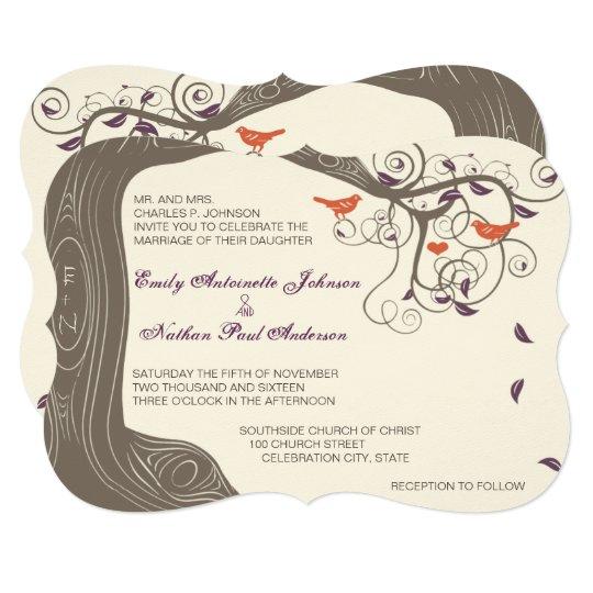 Purple Rustic Wedding Invitations: Birch Tree Bark Heart Rustic Wedding Invitations