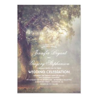 Rustic Tree Dreamy String Lights Vintage Wedding Card