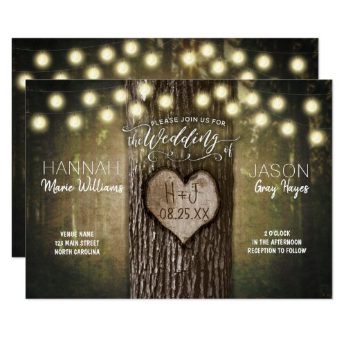 Rustic Tree Heart Lights Wedding Invitation