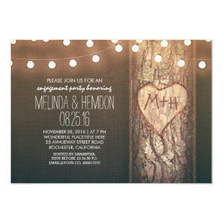 rustic tree heart & string lights engagement party card