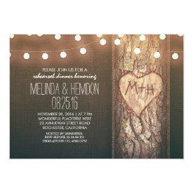 rustic tree heart & string lights rehearsal dinner card