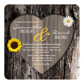 Rustic Tree Heart Sunflower and Daisy Wedding Card