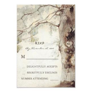 Rustic Tree Heart Wedding RSVP Cards